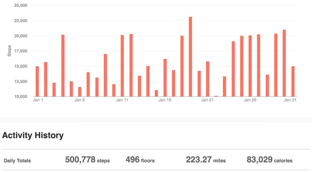 FitBit stats Jan 2014